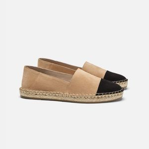 Zara Esparto Espadrilles in Nude and Black